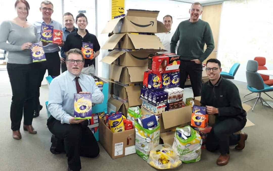 Amiri Construction collects huge 'nest' of Easter Eggs for charity event!