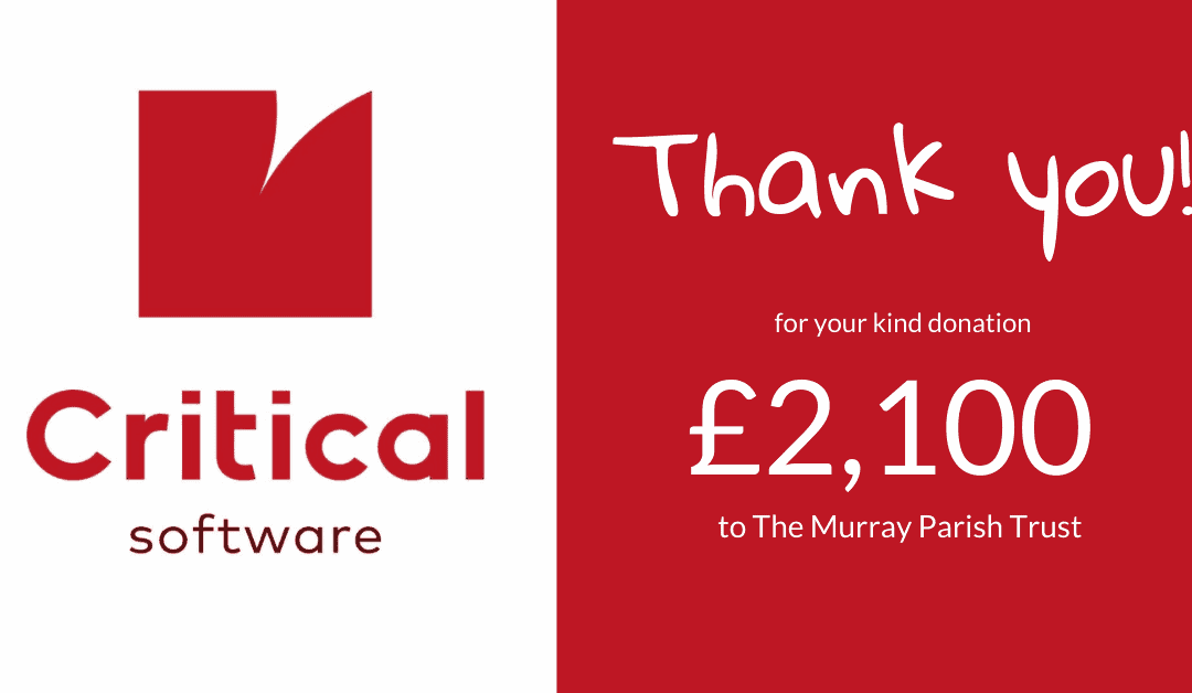 Critical Software donates £2,100 to The Murray Parish Trust