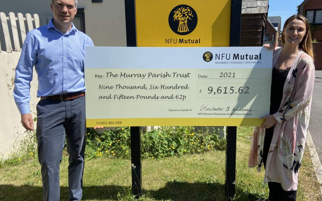 NFU Mutual Winchester & Wickham donate over £9.5k in support of The Murray Parish Trust