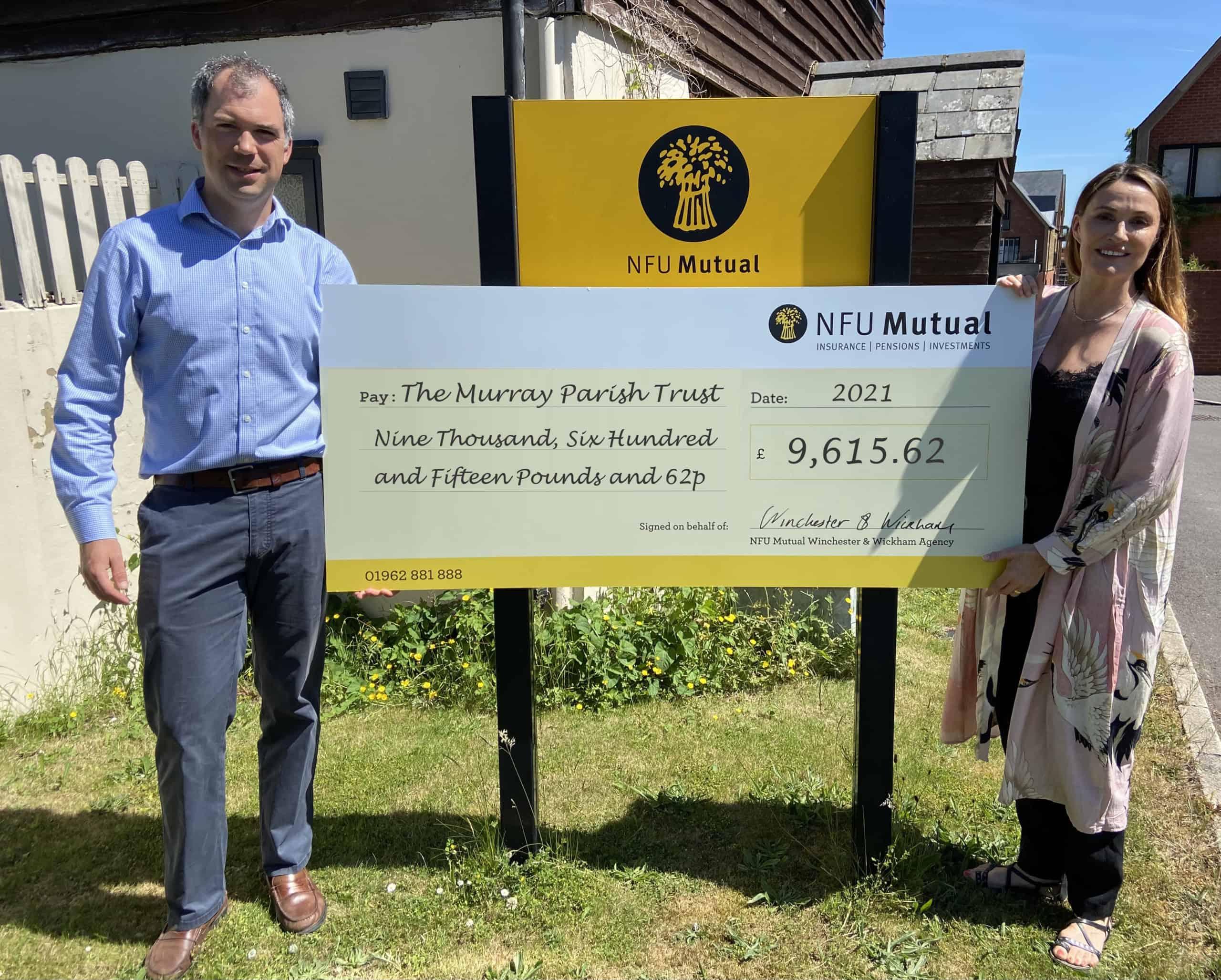 Sarah Parish and James Prewett NFU Mutual donation to The Murray Parish Trust
